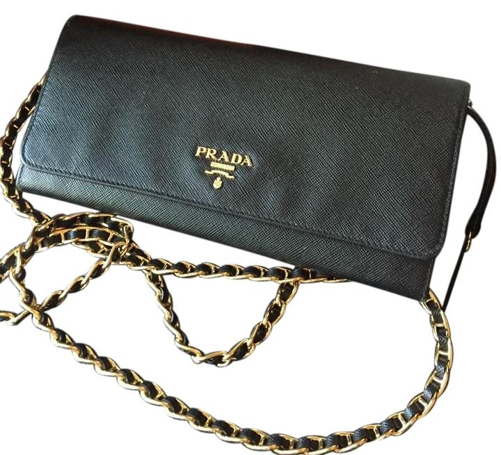 7881824ad90e ... reduced authentic black saffiano leather wallet on a chain replica prada  bags on sale from manufactures
